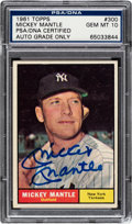 Autographs:Sports Cards, Signed 1961 Topps Mickey Mantle #300 - PSA/DNA Gem MT 10! ...