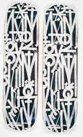Collectible:Contemporary, RETNA X BTS. Skate Decks (two works), 2018. Offset lithographs in colors on skate decks. 32 x 8 inches (81.3 x 20.3 cm)... (Total: 2 Items)