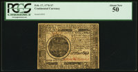 Continental Currency February 17, 1776 $7 PCGS About New 50