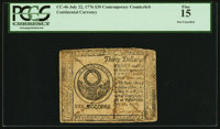 Continental Currency July 22, 1776 $30 Contemporary Counterfeit PCGS Fine 15