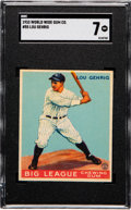 Baseball Cards:Singles (1930-1939), 1933 World Wide Gum Lou Gehrig #55 SGC NM 7....