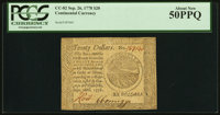 Continental Currency September 26, 1778 $20 PCGS About New 50PPQ