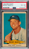 Baseball Cards:Singles (1950-1959), 1954 Red Heart Mickey Mantle PSA VG-EX 4. Offered ...