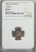 Canada, Victoria 5 Cents 1885 MS63 NGC,...