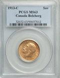 Canada, George V gold Sovereign 1913-C MS63 PCGS,...