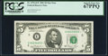 Small Size:Federal Reserve Notes, Fr. 1976-E* $5 1981 Federal Reserve Note. PCGS Superb Gem New 67PPQ.. ...