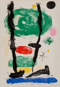 Joan Miró (1893-1983) The Watchers, 1964 Lithograph in colors on Arches paper 35-3/8 x 24 inches