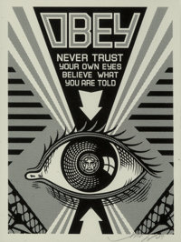 Shepard Fairey (b. 1970) Obey Eye (Black), 2009 Screenprint on white speckled paper 10 x 7-1/2 in