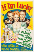 "Movie Posters:Musical, If I'm Lucky (20th Century Fox, 1946). Fine/Very Fine on Linen. OneSheet (27"" X 41""). Musical.. ..."