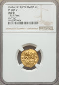 Colombia, Charles II gold Cob 2 Escudos ND (1694-1713) MS61 NGC,...