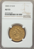Liberty Eagles, 1845-O $10 Repunched Date AU53 NGC. Variety 1....