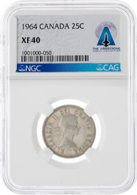 Coins: Canada 1964 25¢ XF40 NGC Quarter Directly From The Armstrong Family Collection™, CAG Certified