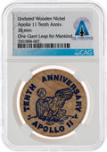 Explorers:Space Exploration, Apollo 11 Tenth Anniversary Wooden Nickel Directly From The Armstrong Family Collection™, CAG Certified....
