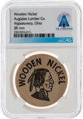 Explorers:Space Exploration, Wapakoneta: Auglaize Lumber Co. Wooden Nickel Directly From The Armstrong Family Collection™, CAG Certified....