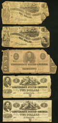 Confederate Notes:Group Lots, Nine Confederate Notes. Good or better.. ... (Total: 9 notes)