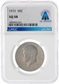 Explorers, Coins: 1973 50¢ AU58 NGC Kennedy Half Dollar Directly From The Armstrong Family Collection™, CAG Certified. ...