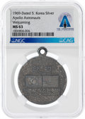 Explorers, Giant Leap World Tour, 11/03-04: 1969-dated South Korea Silver Welcoming Medal, MS63 NGC, Directly From The Armstrong Family C...