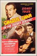 "Movie Posters:Mystery, Charlie Chan in the Secret Service (Monogram, 1944). Folded, VeryFine-. One Sheet (27"" X 41""). Mystery.. ..."