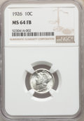 Mercury Dimes: , 1926 10C MS64 Full Bands NGC. NGC Census: (170/142). PCGS Population: (373/378). CDN: $130 Whsle. Bid for problem-free NGC/...