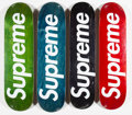 Collectible:Contemporary, Supreme . Logo Decks, set of four, 2008. Offset lithograph in colors on skate deck. 32 x 8 inches (81.3 x 20.3 cm) (each... (Total: 4 Items)
