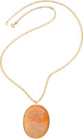 Explorers:Space Exploration, Janet Armstrong's 18K Gold Cameo Necklace Directly From The Armstrong Family Collection™, CAG Certified. ...