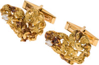 Neil Armstrong's 18K Gold and Diamond Cufflinks in the Shape of the African Continent, Directly From The Armstrong Famil...