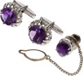 Explorers:Space Exploration, Jewelry: Neil Armstrong's Sterling & Amethyst Cufflinks and Tie Tack, a Gift from Korean Prime Minister Il Kwon Chung, with Pr...