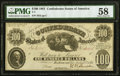 Confederate Notes:1861 Issues, T7 $100 1861 PF-4 Cr. 11 PMG Choice About Uncirculated 58.. ...