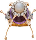 Explorers:Space Exploration, Apollo 11: Custom Lunar Module Ring with Eleven Diamonds and a 20 Carat Amethyst, by Pierre Touraine with Provenance Direc...