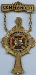 1923 Nassau Commandery No. 73, Knights Templar, 14K Gold Recognition Badge. As Issued