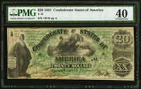 T17 $20 1861 PF-2 Cr. UNL PMG Extremely Fine 40