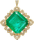 Estate Jewelry:Pendants and Lockets, Colombian Emerald, Diamond, Gold Pendant . ...
