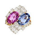Estate Jewelry:Rings, Sapphire, Diamond, Platinum, Gold Ring, Oscar Heyman Bros....