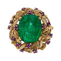 Estate Jewelry:Rings, Emerald, Ruby, Gold Ring The ring features a s...