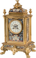 Timepieces, A French Champlevé Enameled Gilt Bronze and Brass Mantel Clock, late 19th century . 17 x 10-1/2 x 7-3/4 inches (43.2 x 26.7 ...