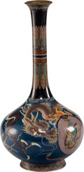 Metalwork, A Japanese Cloisonné Enameled Metal Bottle Vase, Taisho Period. 12-1/8 x 6-1/4 inches (30.8 x 15.9 cm). ...