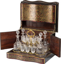 A Napoleon III Boulle-Style Marquetry Cave à Liqueur, mid-19th century 10 x 13-1/4 x 10-1/4 inches (25.4 x 33.7 x...