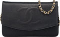 "Luxury Accessories:Bags, Chanel Black Caviar Leather Timeless Wallet on Chain with Gold Hardware. Condition: 3. 7.5"" Width x 5"" Height x 1"" Dep..."