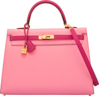 Hermès 35cm Rose Confetti & Rose Tyrien Epsom Leather Sellier Kelly Bag with Brushed Gold Hardware X, 2016&am...