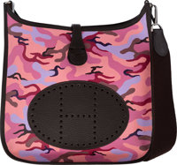 Hermès Customized Pink Camouflage Toile & Chocolate Clemence Leather Evelyne III PM Bag with Palladium Ha...