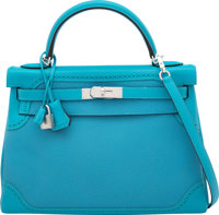 Hermes 32cm Blue Turquoise Clemence & Swift Leather Retourne Ghillies Kelly Bag with Palladium Hardware R Squar