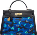 Luxury Accessories:Bags, Hermès 32cm Customized Blue Camouflage Navy Calf Box Leather & Toile Sellier Kelly Bag with Gold Hardware. C Circle, 1999...