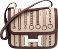 Luxury Accessories:Bags, Hermès Limited Edition 23cm Burgundy Swift Leather & Canvas Camp Dechainee Constance Bag with Palladium Hardware. C, 2018...