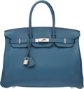 "Luxury Accessories:Bags, Hermès 35cm Blue Thalassa Togo Leather Birkin Bag with Palladium Hardware. P Square, 2012. Condition: 3. 14"" Width..."