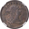 Half Cents, 1803 1/2 C Widely Spaced 3, C-3, B-3, R.1, MS60 Brown NGC....
