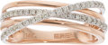Luxury Accessories:Accessories, Effy 14k Rose Gold & Diamond Crossover Ring. Condition: 1. Size: 7. ...