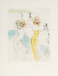 Salvador Dalí (1904-1989) Les Femmes-fleurs au piano, from The Hippies, 1969 Etching with