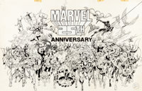 Kerry Gammill and Joe Rubinstein Marvel 25th Anniversary Poster Illustration Original Art (Marvel, 1986)