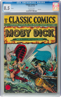 Classic Comics #5 HRN 28 Moby Dick (Gilberton, 1946) CGC VF+ 8.5 Off-white pages
