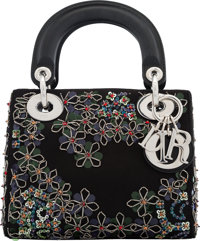 "Christian Dior Black Satin & Silver Floral Beaded Mini Lady Dior Bag with Silver Hardware Condition: 1 7"" W..."